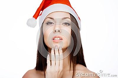 华美的圣诞老人女孩