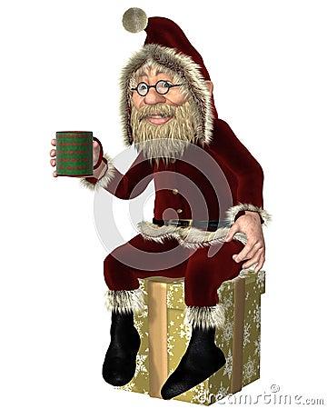 Санта Клаус имея перерыв на чай