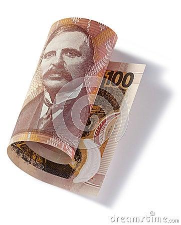 滚动的新西兰一百美元