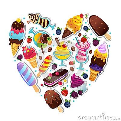 Απεικόνιση καρδιών παγωτού