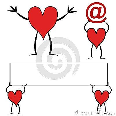 красный цвет сердца шаржей