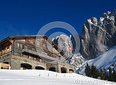 瑞士山中的牧人小屋瑞士冬天