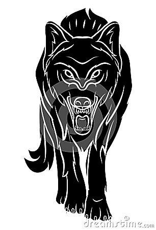 狼纹身花刺eps 10例证设计.