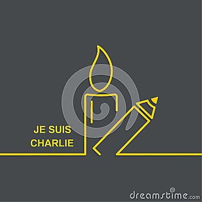 团结的标志在巴黎 je suis查理 我是查理 灼烧的蜡烛和铅笔 背景容易图片