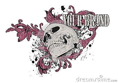 графический розовый череп