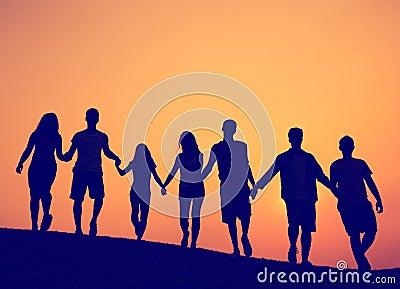 友谊统一性团结朋友概念.