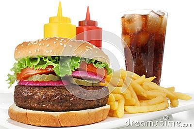 франчуз быстро-приготовленное питания жарит соду еды гамбургера