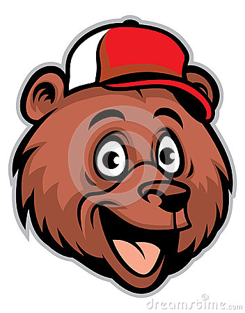 头戴棒球帽的动画片快乐的熊头图片