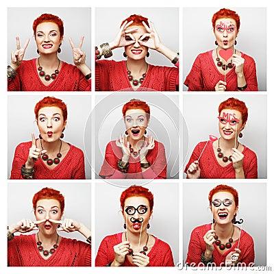 妇女不同的表情拼贴画图片