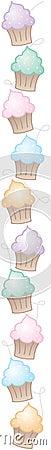 边界杯形蛋糕垂直