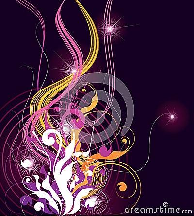 черные цветастые линии волнистые
