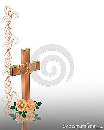 基督徒交叉邀请婚礼 库存照片
