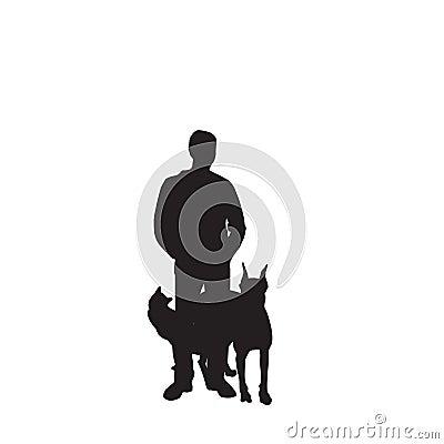 供以人员宠物剪影向量