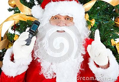 蜂窝电话圣诞老人微笑