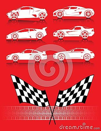 флаги автомобилей утомляют след