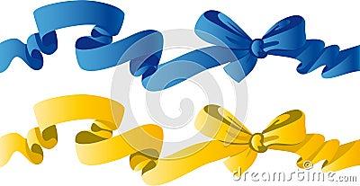 Смычок сини и желтого цвета