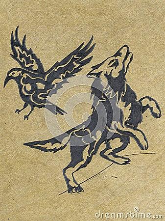 волк эскиза ворона