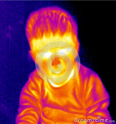 男孩纵向自计温度计