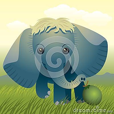 动物婴孩收集大象
