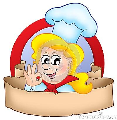γυναίκα λογότυπων αρχιμαγείρων κινούμενων σχεδίων εμβλημάτων