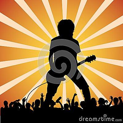 音乐会吉他弹奏者岩石