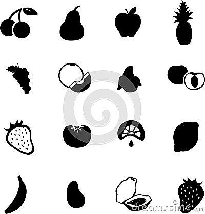 苹果香蕉樱桃果子葡萄                    轮廓草莓符号向量.图片