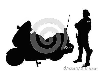 骑自行车的人警察剪影