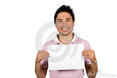 Νεαρός άνδρας που κρατά μια κενή σελίδα