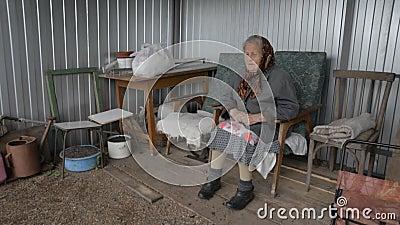 Nonna anziana che si siede in una poltrona all'aperto che sorride archivi video