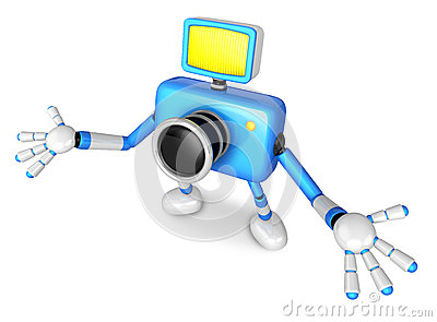 Nonsense blue Camera Character stretched out both hands. Create