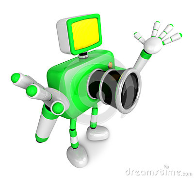 Nonsense Green Camera Character stretched out both hands. Create