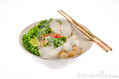 Noodle with fish-ball isolated in white background