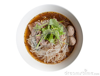 Noodles with Beef  Thailand Style on White Background