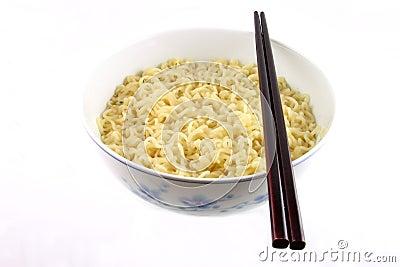 Bowl of noodles and chopsticks