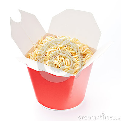 Noodles in take-out box
