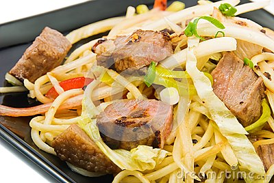 Noodles and three kinds of meat