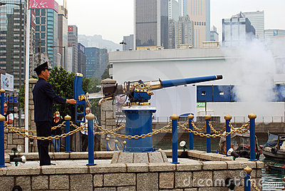 Noonday gun, Causeway Bay, Hongkong Editorial Photo