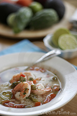 Free Nopales Soup With Prawns Stock Photography - 3912212