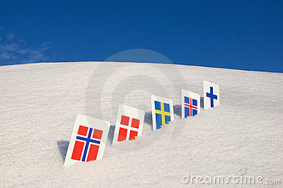 Nordic Europe country symbols