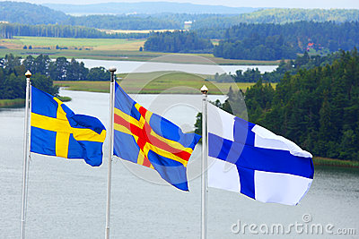 Nordic flags in Aland archipelago