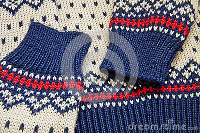 Nordic knit sweater close up