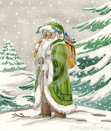 Nordic Santa Claus in green dress