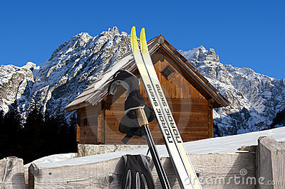 Nordic Skiing - Mountain chalet in winter - Italy