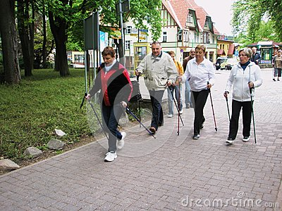 Nordic walking Editorial Stock Image