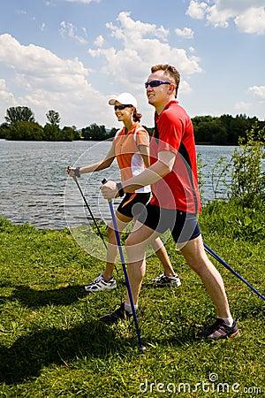 Free Nordic Walking Royalty Free Stock Photo - 9509575