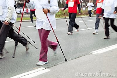Nordic walking in motion blur