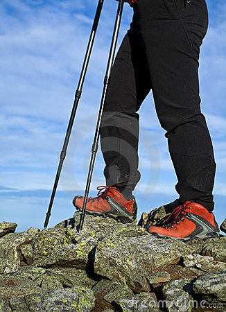 Nordic Walking in mountains, hiking concept