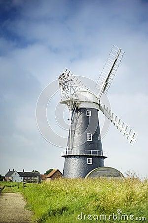 Norfolk Broads black and white windmill