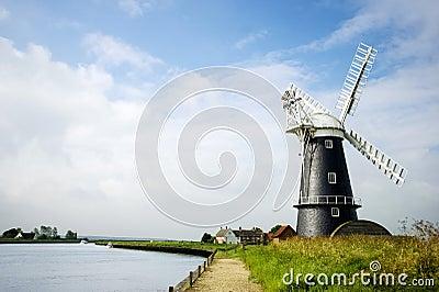 Norfolk Broads black and white windmill landscape