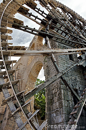 Noria water wheel in the city of Hama, Syria